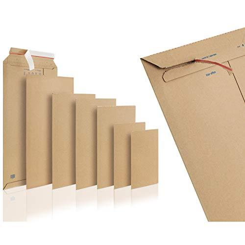 WPTrading - 50 Stück Wellpappe Versandtaschen DIN A4 250 x 353 mm (SW40) selbstklebend in Braun - Pappe Versandtasche aus Karton für Büchersendung reißfest - Warensendung Versandverpackung für Bücher