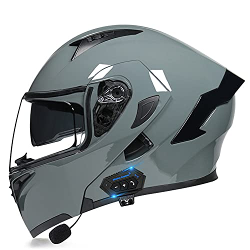 AI DI SAI Motorrad-Helm Klapphelm Integralhelme mit Bluetooth ECE Zertifiziert mit Doppelvisier und Eingebautem Mikrofon für Automatische Beantwortung für Herren Damen Erwachsene,J,M