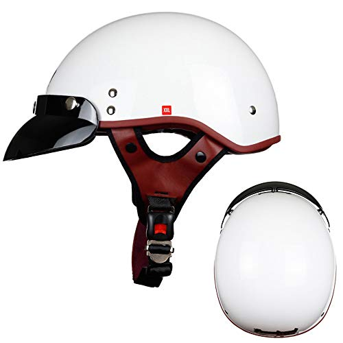 DaMuZ Retro Jet Helmet Motorbike Crash Helmet Moped Street Bike Helmet with Sun Visor Vintage Open Face Crash Chopper Cruiser Half Helmet Cruiser Scooter Motorcycle Half Helmet