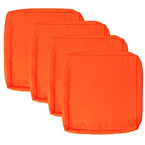 Sqodok Patio Cushions Cover 24'X24', 4 Pack Replacement Cushion Covers Outdoor Seat Covers Furniture Replacement Cushions Chair Pads Cover Washable Cushion Pillow Covers, Orange