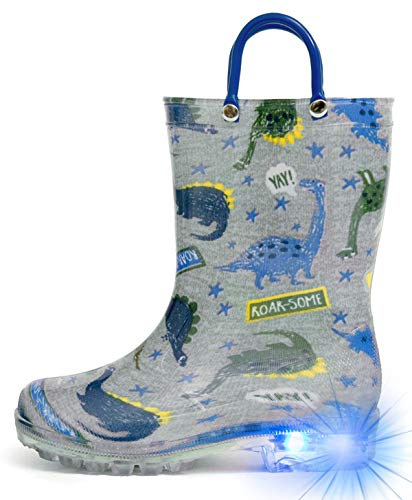 HugRain Toddler Boys Rain Boots Baby Little Kids Light Up Printed Waterproof Shoes Lightweight Rubber Adorable Grey Dinosaur with Easy-On Handles Non Slip(Size 6,Grey)