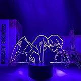 JYDNBGLS 3D ilusión luz led noche anime figura lámpara Darling in The Franxx Zero Two Hiro noche para dormitorio decoración noche regalo lámpara de mesa control remoto iluminación