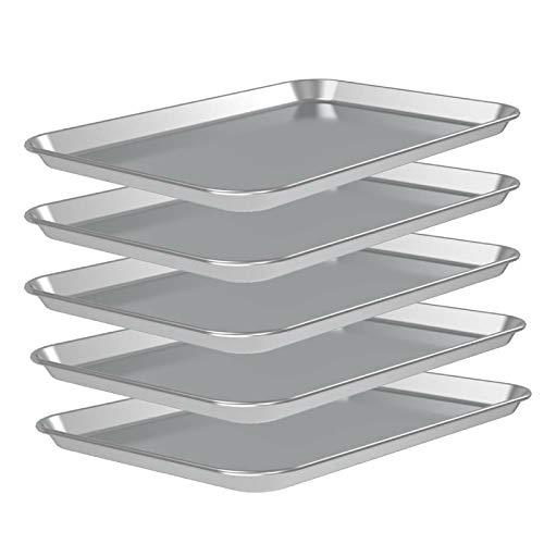 5 Pans 26″ x 18″ Full Size Aluminum Cookie Sheet Baking Tray Pan, Full Sheet Cake Pans