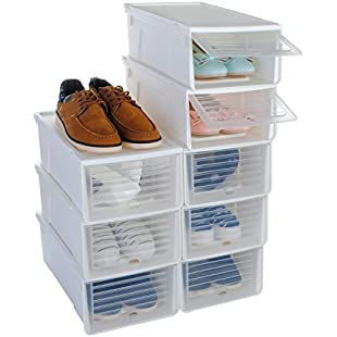 Shoe Box, Funime Stackable Shoe Storage Box Organiser-For Ladies and Men-Slide Cover Easy to Open and Close-Set of 8-33cmx24cmx14cm-White