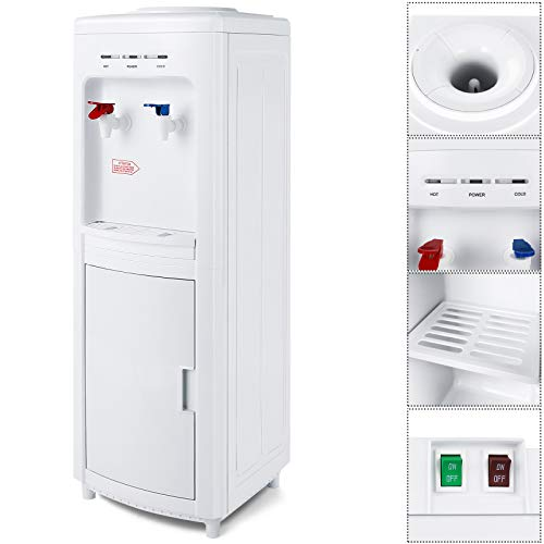 5 Gallon Top Loading Water Dispenser, Electric Hot/Cold Water Cooler Dispenser with Child Lock and Storage Cabinet for Home Office Use, White