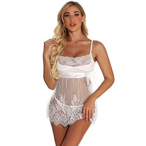 Bragas Sexy Vestido Semi Transparente Erótica Encaje Lencería Suave Frente Abierto Camisón Babydoll Ropa Interior Erotica Conjunto Pijamas