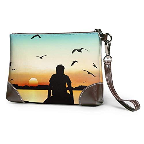 Yushg Weiche wasserdichte Damen Clutch Lederhandtasche Ein Mann Rudern eine Boot Clutch Make-up-Tasche mit Reißverschluss für Frauen Mädchen