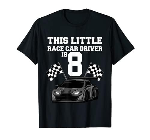 Divertido regalo de 8 años de edad para chicos de carreras de coches de 8 años Camiseta