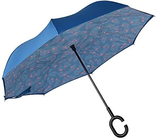 FDGSD Winddichter, doppelt klappbarer, umgekehrter Regenschirm - Selbsttragender, umgedrehter, regensicherer, verkehrter Regenschirm mit C-förmigem Griff, leicht zu tragen/D.