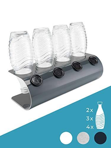 SodaNature™   4er Design Abtropfhalter in U-Form für SodaStream Glasflaschen   Flaschenhalter (4er Aluminium Anthrazit)