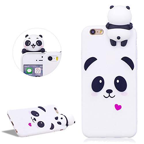 DasKAn Lindo Panda Mate Funda de Silicona para iPhone 6/6S (4.7'), Patrón de Animales de Dibujos Animados 3D Soft Piel de Gel Goma Protectora de TPU a Prueba de Golpes,Blanco # 1
