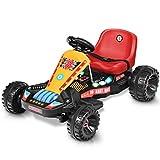 HONEY JOY Electric Go Kart for Kids, 6V 4 Wheel Ride On Go Cart w/Flashing Lights, 3-Position Adjustable Seat with Belt, Music, Forward and Backward, On Foot Motorized Pedal Car for Kids Age 3-8(Red)