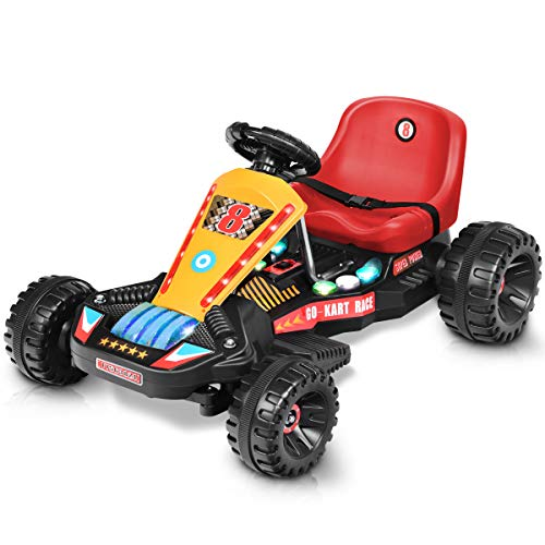 %6 OFF! HONEY JOY Kids Pedal Go Kart, 4 Wheels Ride On Toy w/Adjustable Seats & Safety Belt, Brake, ...