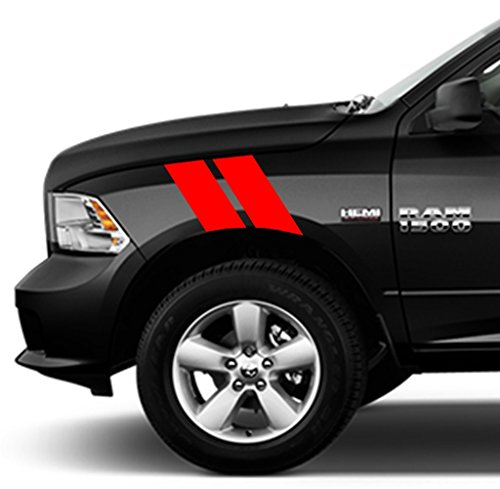 Clausen's World 4 Inch Fender Bars Vinyl Racing Stripes Decals, Fits Dodge Ram Pickup Truck, Both Sides, Red
