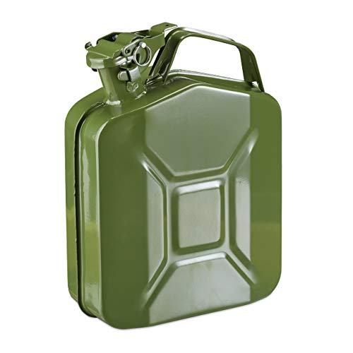 Relaxdays 10027730 Tanica per Benzina da 5 l, per Scorte di Benzina & Diesel, Chiusura Sicura, Manico, Metallo, Verde Oliva, 1 Pz