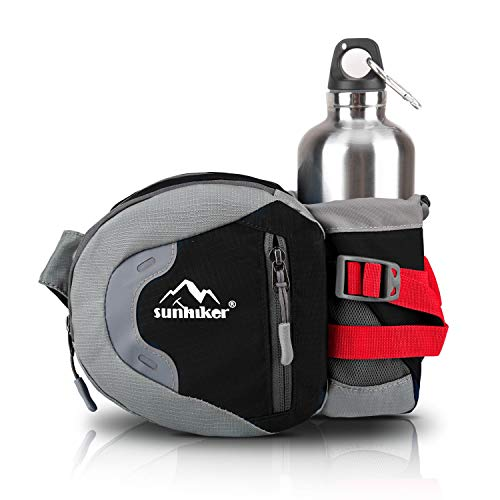Sunhiker Waist Bag, Sports Water Resistant Waist Pack with Water Bottle (Not Included) Holder, Running Belt Bag Pouch Fanny Pack for Hiking Running Cycling Camping Climbing Travel (Black)