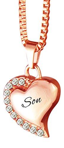 Liefde aan Schatten Zoon Hart met Kristallen Rose Goud Urn Hanger Ketting Memorial Ash Crematie Sieraden