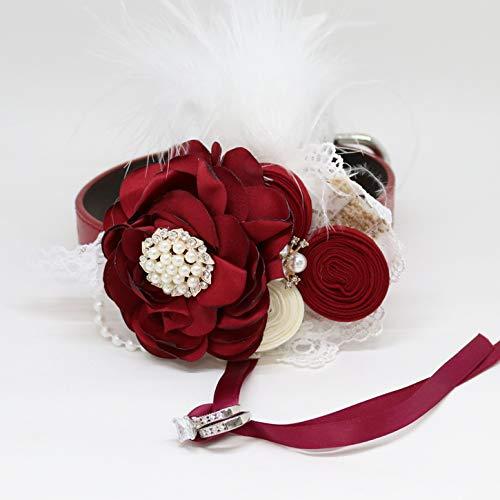 Burgundy flower dog collar beaded pearl feather burlap Rhinestone flower collar leather adjustable girl collar dog of honor proposal Marry me dog ring bearer