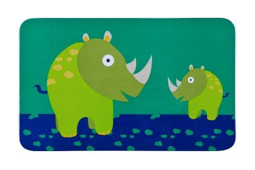 LÄSSIG Kinder Frühstücksbrettchen Essensbrettchen Melamin rutschfest/Breakfast Board Wildlife Rhino