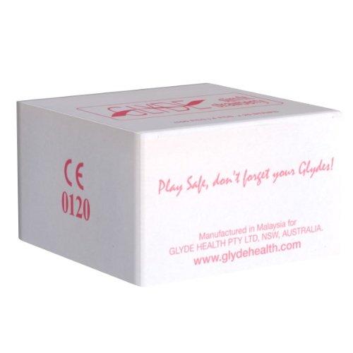 Glyde Ultra Slimfit Strawberry, 100 veganistische condooms met 49mm bredte, kleine roode condooms met aardbeiensmaak, zonder dierlijke ingrediënten als caseïne, gecertificeerd met de veganistische bloem