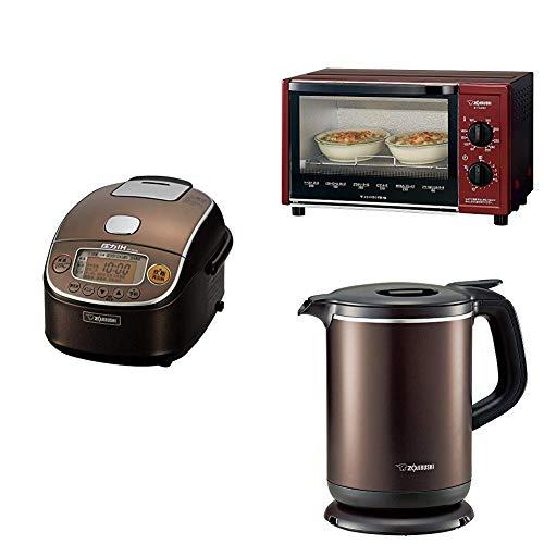 【新生活3点セット買い】象印 炊飯器 圧力IH式 3合 ブラウン + トースター + 電気ケトル