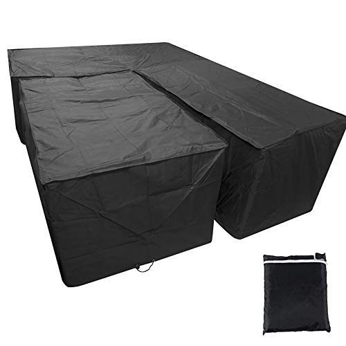 2Pcs/Set Waterproof L Shape and Rectangular Sofa Cover Protector With Storage Bag Heavy Duty Windproof Anti-UV Cube Corner Furniture Covers for Outdoor Patio Table Chairs