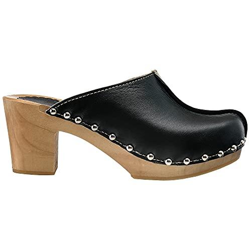 ESTRO Sabots Femme en Cuir Chaussures Hôpital Mules Femmes Sabots Orthopédiques CDL03 (Noir, 40)