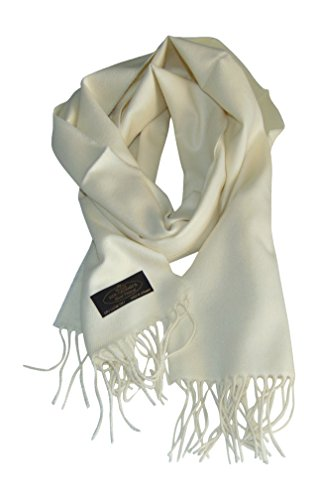 Annys Super Soft 100% Cashmere Scarf 12 X 72 with Gift Bag (Ivory)
