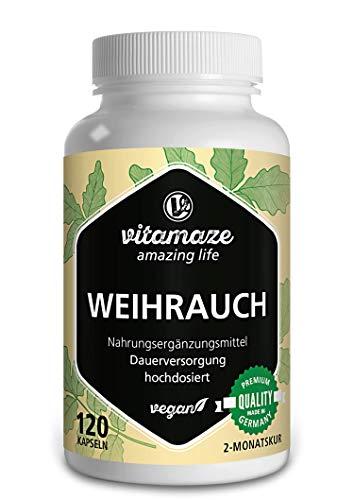 Weihrauch Kapseln hochdosiert 900 mg Tagesdosis, 85% Boswellia-Säure, 100% indischer Boswelia serrata, 120 Kapseln vegan für 2 Monate, ohne Magnesiumstearat
