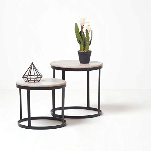 HOMESCAPES Grey Soho Round Nest Of Tables 2 Nesting Tables Handcrafted From Solid Mango Wood & Iron Pre-Assembled Modern Space Saving Compact Coffee Side End Tables H 45cm x W 45cm