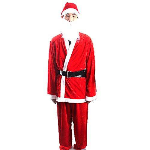 LWBN Herren Frau Weihnachten Weihnachtsmann Anzug, Santa KostüM Vollbart, Weihnachten Klassische Cosplay Kleidung Dark Rot(Männer)