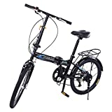 SSYUNO 20in Folding Bikes for Adult Lightweight Aluminum Frame 7-Speed Folding Bike City Mini Compact Bike Bicycle Urban Commuters