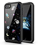PBRO iPod Touch 7 Case/iPod Touch 6 Case/iPod Touch 5 Case Cute Astronaut Case Dual Layer Hybrid Anti-Slip Sturdy Case Rugged Shockproof Case for Apple iPod Touch 7th/6th/5th Generation Space/Black