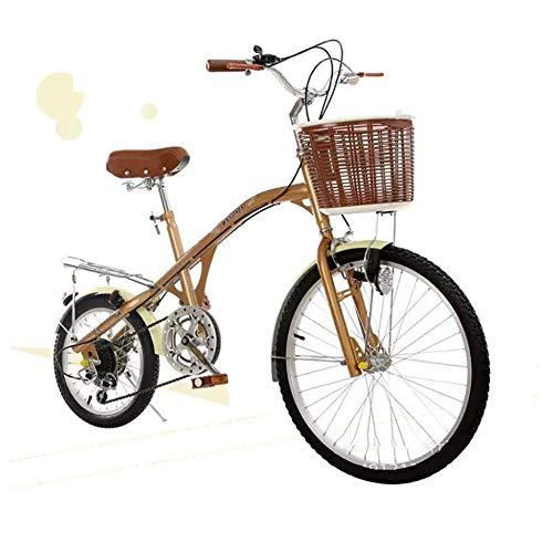 XIAOFEI 26 Pouces Cycle Lady Bike Commuter City Ladies Bicycle City Bike, VéLo De Ville Non Pliable Vitesse Variable, éTudiants Adultes Masculins Et FéMinins,Laiton,24\