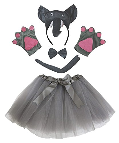 Petitebelle Elefante 3D diadema Bowtie Guantes de cola Tutu niña Disfraz de 5 piezas Un tamaño gris