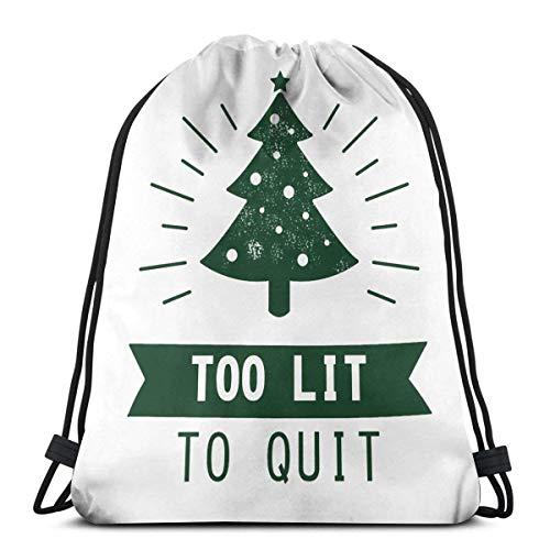 qidong Zu beleuchtet, um aufzuhören Lustiges Weihnachtsbaum-Hemd Sporttasche Turnbeutel Rucksack mit Kordelzug