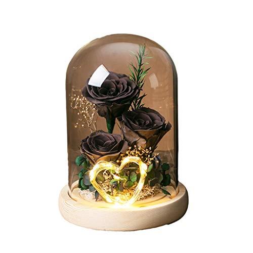ZZL Flores Frescas Adornos Flores Frescas Reales En Cúpula Vidrio Eternal Hecho A Mano Nunca Marchito Flores Eternas para San Valentín Decoración (Color : Black)