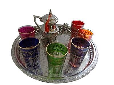 Moroccan Tea Serving Set Teapot & Tea Artisan Glasses Silver Tray