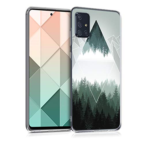 kwmobile Hülle kompatibel mit Samsung Galaxy A71 - Handyhülle - Handy Hülle Wald Gebirge Dreiecke Grün Weiß Grau