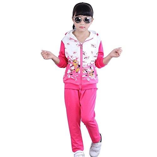 L PATTERN Mädchen 2tlg Bekleidungsset Trainingsanzug Sportanzug Outfit-Set Jogginganzug(Jacke + Hose/Langarmshirt+ Hose) mit Blumen-Muster,Rose,128-134