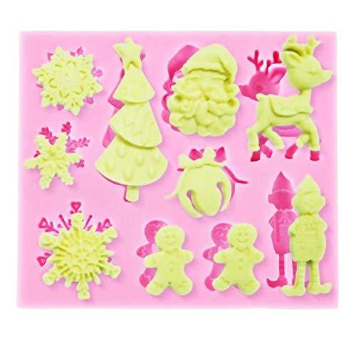 KIRALOVE Molde de Silicona en Forma de Santa - Navidad - muñeco...