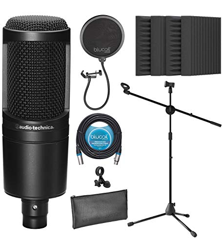 Audio-Technica AT2020 Cardioid Condenser Microphone for Vocals, Podcasting, Livestreaming for Bundle with Blucoil 20-FT Balanced XLR Cable, Pop Filter, Adjustable Mic Stand, and 4x 12' Acoustic Wedges