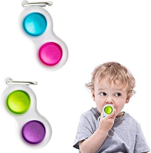 FOHYLOY 2 Piezas de Juguete Simple de hoyuelos, Juguete Educativo temprano, Mini Juguete de Mano, Juguete de Mano sensorial para aliviar el estrés para niños y Adultos ((Color A + B))