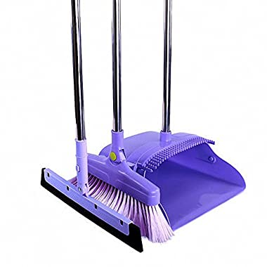 Aooper 3PCS Purple Long Handle Standing Upright Foldable Set Broom Set Home Kitchen Office Bathroom Modern Comfort Grip - Flexible & Durable Sweeper