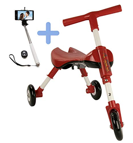 Airel Pack 1 Selfie Stick + 1 Rijden | Leerwiel | Leren Driewieler | Mini Driewieler | Opvouwbare Loopfiets voor Kinderen | Mini Loopfiets Flatbar | Driewieler | Van 1 tot 3 Jaar