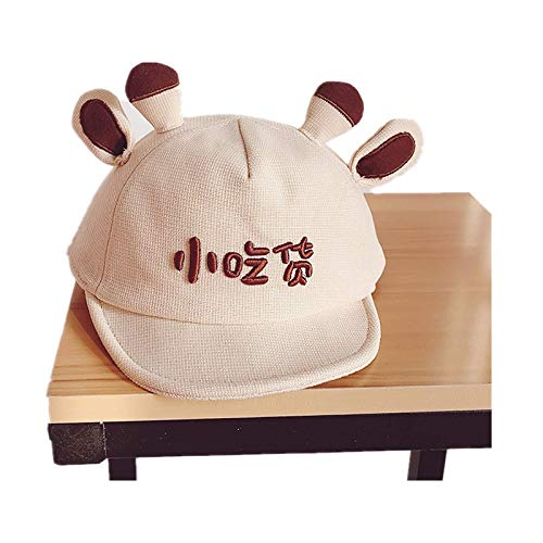 FFM Baby Hats Super Cute Cartoon caps Thin Sun Hats Boys and Girls Small Brimmed Hats Beanie hat Beige