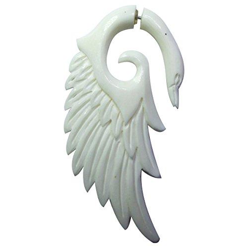 Chic-Net - Piercing Falso para la Oreja de Acero Inoxidable con Forma de Espiral, Unisex, diseño de alas