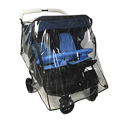 Weather Shield for Double Stroller Universal Side by Side Baby Stroller Rain Cover for Baby Protection Outdoor