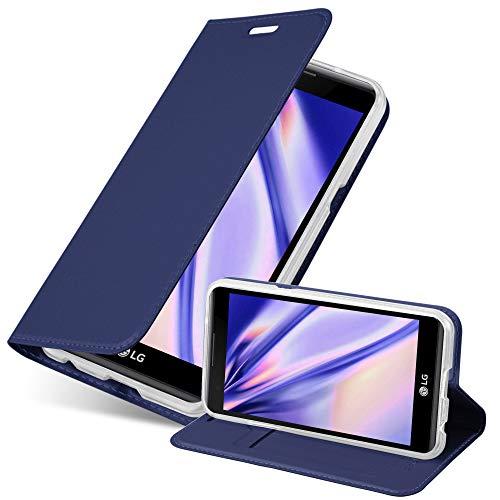 Cadorabo Hülle für LG X Power - Hülle in DUNKEL BLAU – Handyhülle mit Standfunktion und Kartenfach im Metallic Look - Case Cover Schutzhülle Etui Tasche Book Klapp Style