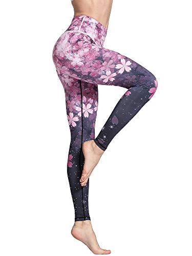 FLYILY Mallas Deportivas Mujer Pantalones impreso Leggings Deportes para Running Yoga Fitness Gym(2-Cherry,L)